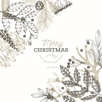 クリスマスバナーテンプレート。手描きイラスト。