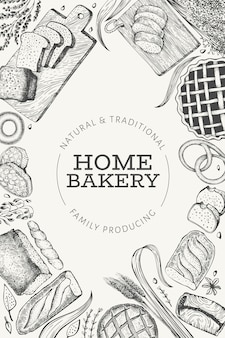 パンとペストリーのバナー。パン屋さんの手描きイラスト。ビンテージのテンプレート。