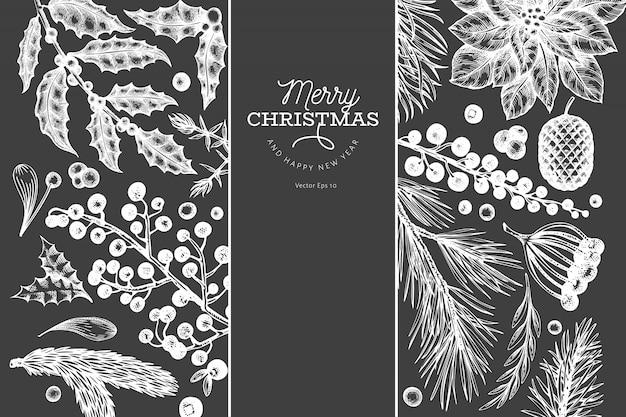 クリスマスバナーテンプレート。チョークボードに描かれたイラストを手します。レトロなスタイルのグリーティングカード。