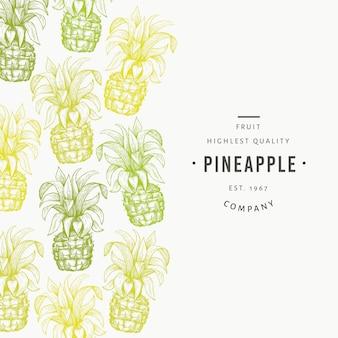 パイナップルと熱帯の葉のテンプレート。手描きのトロピカルフルーツのイラスト。刻まれたスタイルアナナスフルーツバナー。レトロな植物フレーム。