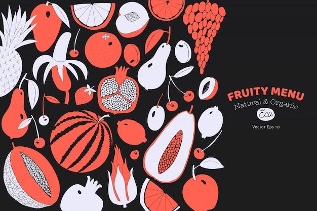 スカンジナビアの手描きフルーツテンプレート。
