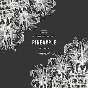 パイナップルと熱帯の葉のテンプレート。