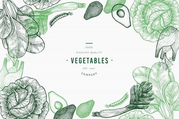 Шаблон зеленые овощи.