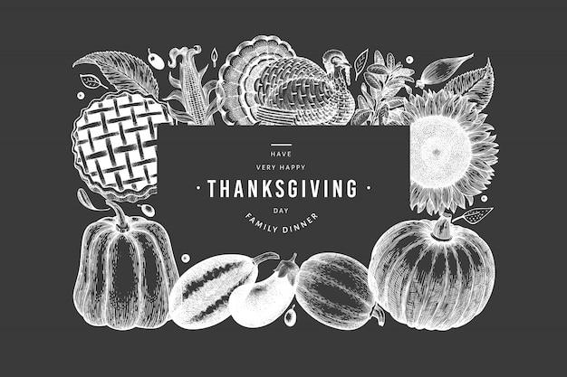 幸せな感謝祭の黒と白のテンプレート