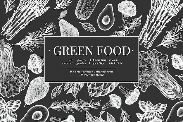 緑の野菜の黒と白のテンプレート。