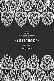 アーティチョーク野菜デザインテンプレート。手は、チョークボードにベクトル食べ物イラストを描いた。刻まれたスタイルの野菜フレーム。