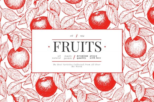 アップルブランチデザインテンプレート。手描きベクトルガーデンフルーツイラスト。刻まれたスタイルのフルーツフレーム。レトロな植物バナー。