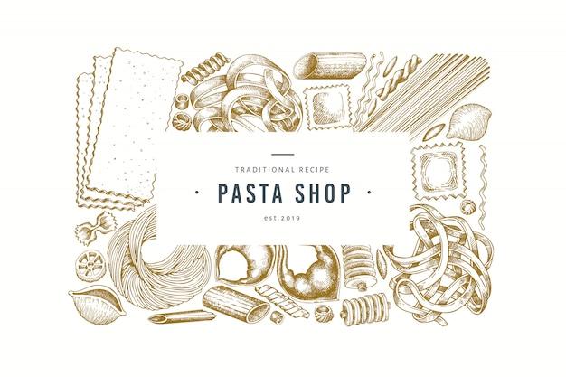 Итальянская паста дизайн шаблона. нарисованная рукой иллюстрация еды вектора. выгравированный стиль.