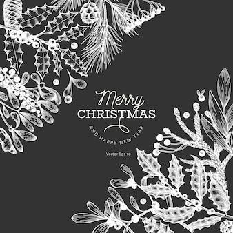 クリスマスのグリーティングカードテンプレート。ベクトルは、チョークボードに描かれたイラストを手します。レトロなスタイルのグリーティングカードデザイン。