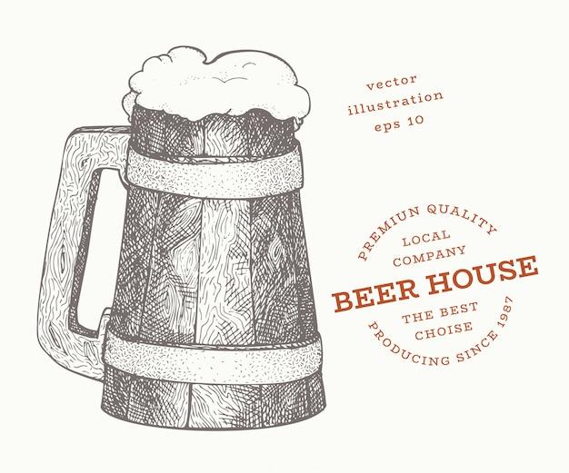 ビールジョッキのイラスト。手描きベクトルパブ飲料イラスト。刻まれたスタイル。レトロな醸造所のイラスト。