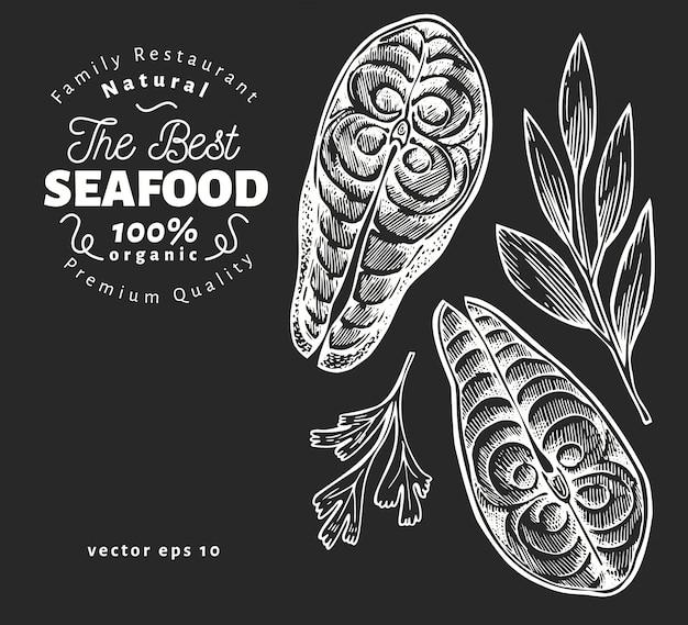 魚のステーキのイラスト。チョークボードに描かれたベクターシーフードイラストを手します。刻まれたスタイル。ビンテージフード、サーモンまたはマスの作品