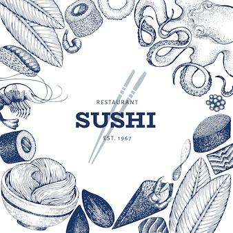 日本料理のデザインテンプレート。寿司手描きベクトルイラスト。レトロなスタイルのアジア料理の背景。