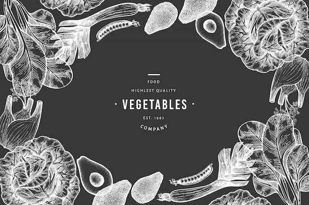 Зеленые овощи фон шаблон