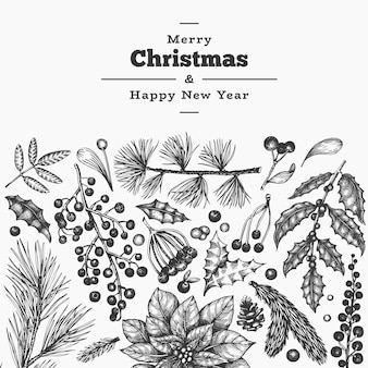 クリスマス手描きのグリーティングカードテンプレート