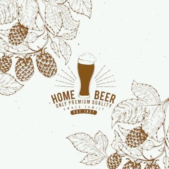 ビールホップのデザインテンプレート。ビンテージビールの背景。ベクトル手描きホップイラスト。レトロなスタイルのバナー。