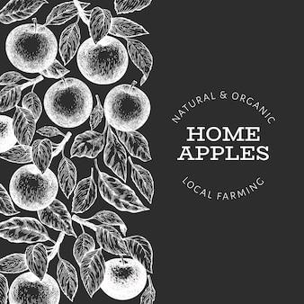 アップルブランチデザインテンプレート。手描きチョークボードのベクトルガーデンフルーツイラスト。刻まれたスタイルのフルーツフレーム。レトロな植物。