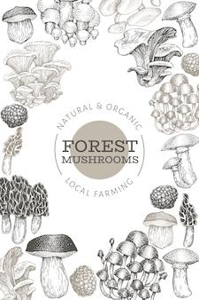 Грибной дизайн шаблона. нарисованная рукой иллюстрация еды вектора. выгравированный стиль. винтажные грибы разных видов плакат.