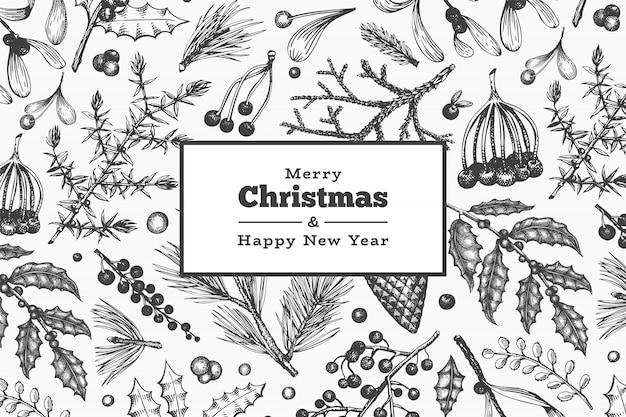 Рождество рисованной вектор шаблон поздравительной открытки. винтажная иллюстрация стиля