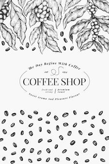 Кофе векторный дизайн шаблона. урожай кофе плакат. ручной обращается гравированный стиль иллюстрации.
