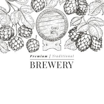 ビールとホップのデザインテンプレート。手描きのベクトル醸造所のイラスト。刻まれたスタイル。レトロな醸造図。