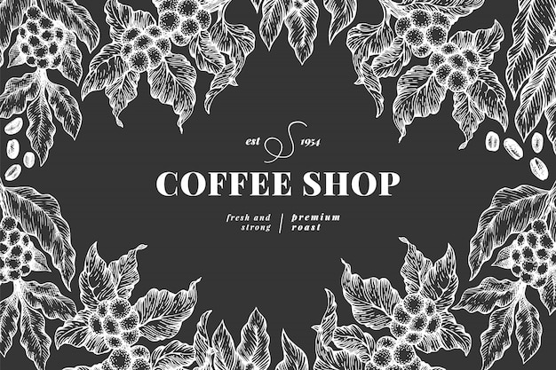 Шаблон иллюстрации ветви кофейного дерева