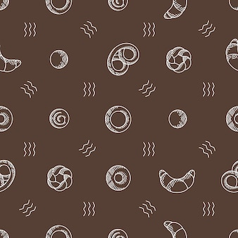 ベーカリー製品のシームレスなベクターパターン