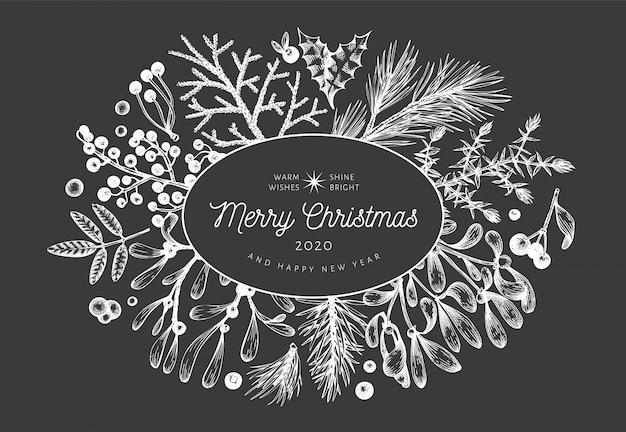 クリスマス手描きのグリーティングカードテンプレート。