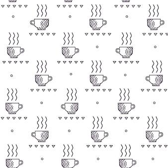 手でシームレスパターン描画スケッチ茶とコーヒーカップ