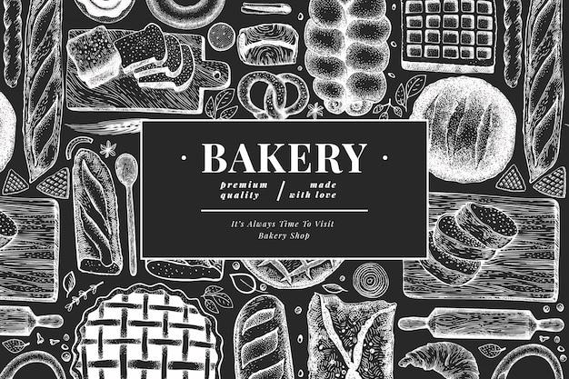 パンとペストリーのバナー。パン屋さんは、チョークボードに描かれたイラストを手します。ビンテージのテンプレート。