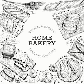 Хлеб и кондитерское знамя. пекарня рисованной иллюстрации. старинный шаблон.