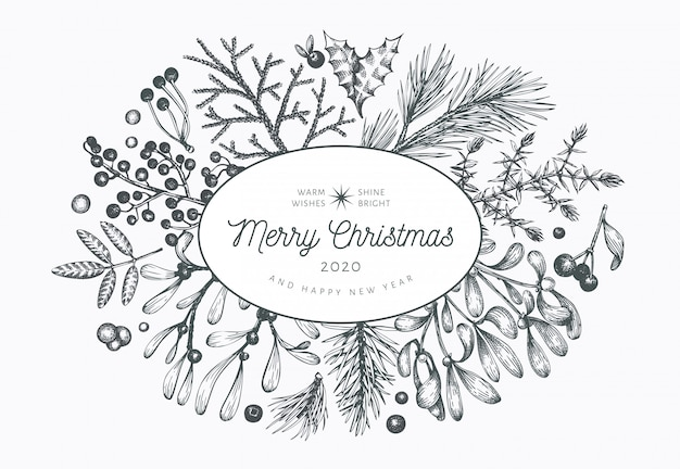 クリスマス手描きのグリーティングカードテンプレート。ビンテージスタイルの図