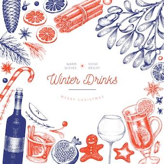 冬の飲み物テンプレート。手描きの刻まれたスタイルのグリューワイン、ホットチョコレート、スパイスのイラスト。ビンテージクリスマス背景。