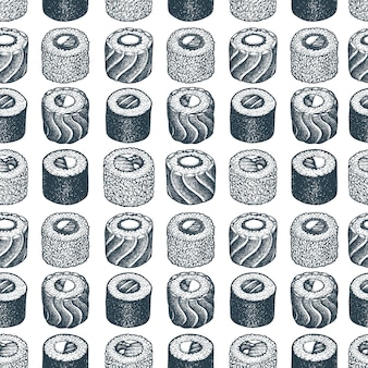 Суши бесшовные модели. рисованной иллюстрации