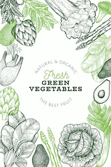 Зеленые овощи шаблон.