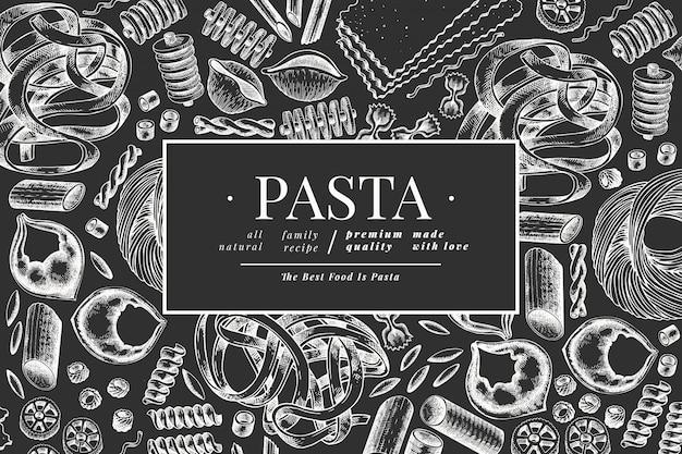 イタリアのパスタテンプレート。手は、チョークボードに食べ物イラストを描いた。刻まれたスタイル。ビンテージパスタの種類。