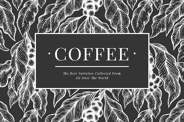Кофейный шаблон. урожай кофе. нарисованная рукой выгравированная иллюстрация стиля на доске мела.