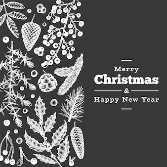 クリスマス手描きのグリーティングカードテンプレート。チョークボードのビンテージスタイルの冬の植物図