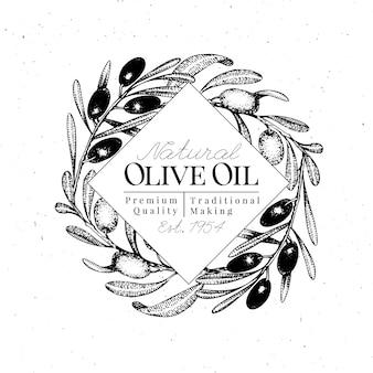 オリーブブランチのロゴのテンプレート。ベクトル手描きイラスト。