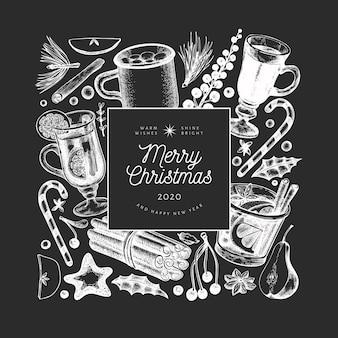 Зимние напитки шаблон. вручите вычерченный выгравированный глинтвейн стиля, горячий шоколад, иллюстрации специй на доске мела. старинное рождество.