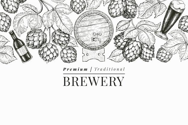 ビールとホップのテンプレート。手描きの醸造所のイラスト。刻まれたスタイル。レトロな醸造図。