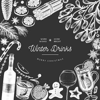 Зимние напитки баннер шаблон. вручите вычерченный выгравированный глинтвейн стиля, горячий шоколад, иллюстрации специй на доске мела. старинное рождество.