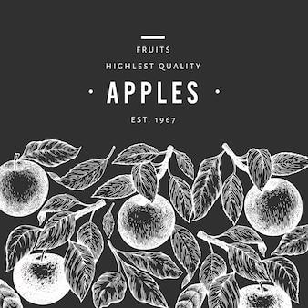 アップルブランチデザインテンプレート。手描きチョークボードのベクトルガーデンフルーツイラスト。刻まれたスタイルのフルーツフレーム。