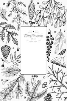 Рождество рисованной вектор шаблон поздравительной открытки. винтажный стиль