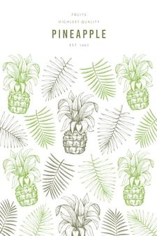 Ручной обращается ананасы и тропические листья баннер шаблон.