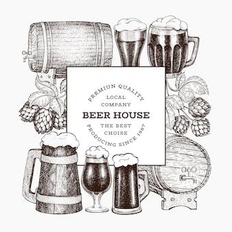 手描きのビールとホップのバナーテンプレート。