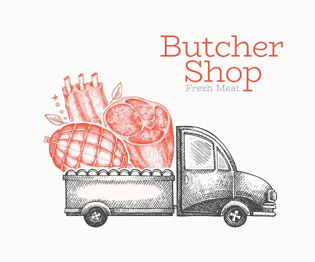 Шаблон логотипа доставки мясной магазин.