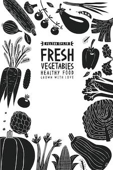 楽しい手描き野菜デザインテンプレート。