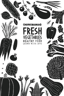 Весело рисованной овощи дизайн шаблона.