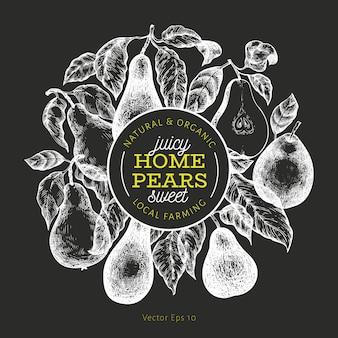 Груша шаблон. нарисованная рукой иллюстрация плодоовощ сада на доске мела. выгравированная садовая рамка с фруктами. ретро ботанический баннер.
