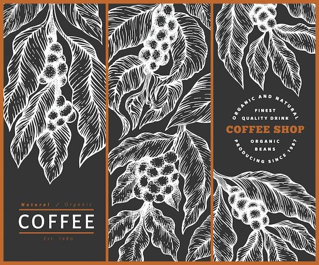 Набор шаблонов кофе. урожай кофе фон. нарисованная рукой выгравированная иллюстрация стиля на доске мела.